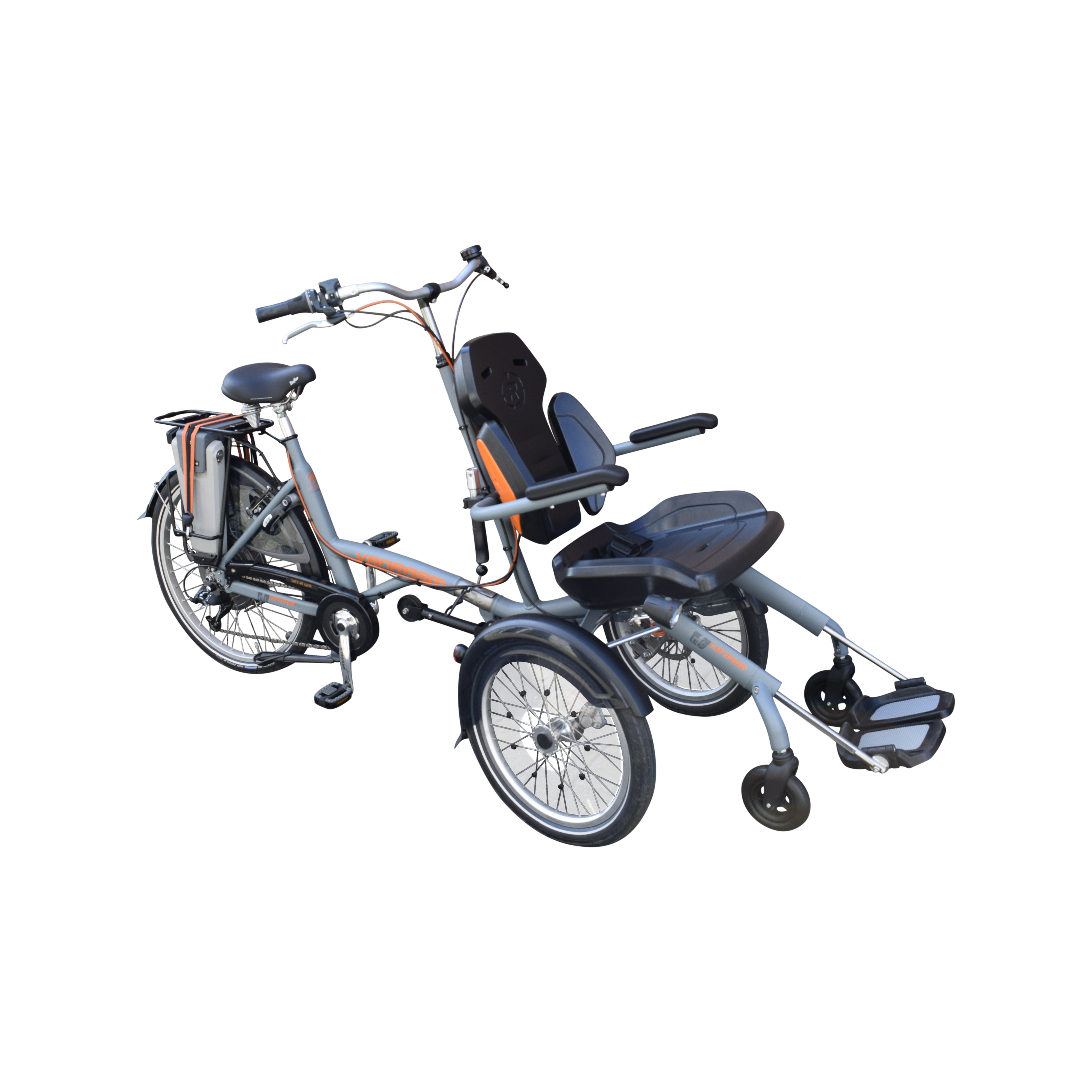 b881a67d2b7 The O'pair Wheelchair Bike has a suspension wheelchair mounted on the front  side of the wheelchair bike. The rider has a good view of and can watch  over the ...